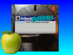 An 88mb syquest disk that stored files from an old Mac computer.