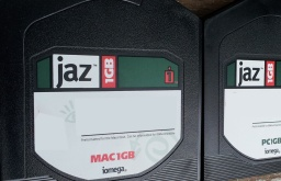 A close up of the labels from an Iomega Mac 1GB. The disk is preformatted for the Macintosh computer. Also seen is a PC 1GB disk to the right hand side of the image.