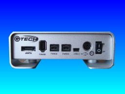 A G-Tech G-Drive showing its Firewire, USB and ESata ports.