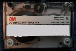 A DC6150 cartridge that stored files from a Unix using tar backup archive software.