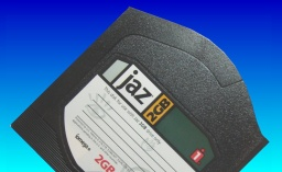 A 2GB Jaz disk made by Iomega. This disc type is sent to us quite often for file transfer.