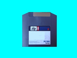 A Zip PC100 disk awaiting file transfer to CD.